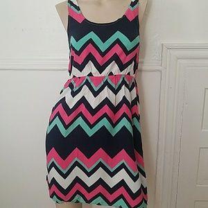 Navy, pink, white, green chevron dress